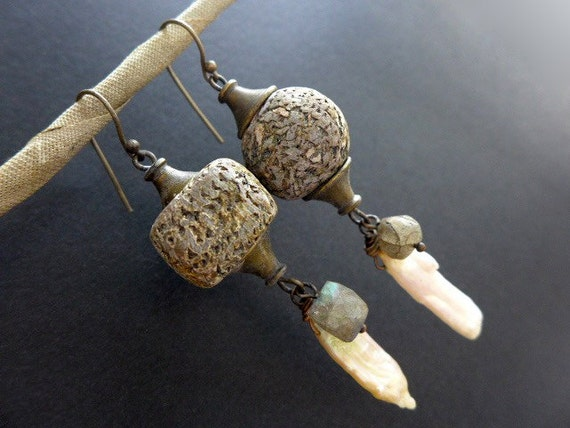 Pliocene. Rustic assemblage earrings with biwa pearl, labradorite and polymer art beads.