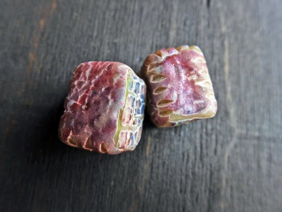 Broken Rainbows- rustic crackle polymer clay art bead pair (2) in rectangular cubes- handmade artisan beads- lavender, violet, plum, purple