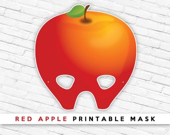 Red Apple Printable Party Mask | Fruit Mask | Party Play Props