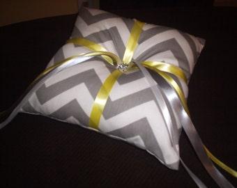 Gray and White Chevron Ring Bearer Pillow