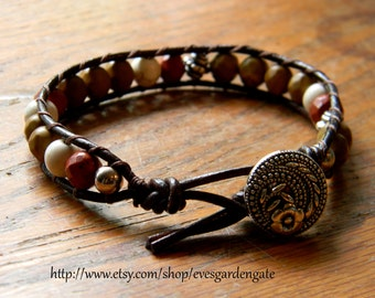 Leather Wrap Chan Lu Style Bracelet - Single Wrap Bohemian Bracelet - Jasper Beaded Bracelet - Eves Garden Gate Designs