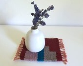 Tiny Table Textile No.2 - Deep Red and Turquoise