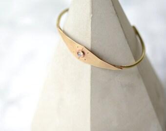 Labradorite, cuff, bracelet, brass, sunburst, thin, stacking, wire // HELIOS CUFF