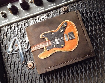 HOT S.A.L.E 35% Hand Stitch Men Wallet Bass Guitar Colored Wood
