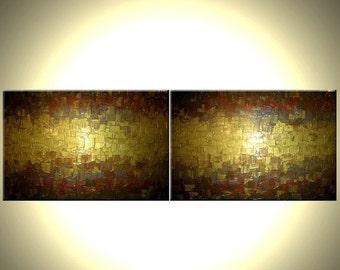Original Gold Metallic Art Painting - 24 x 72 Sale 22% Off