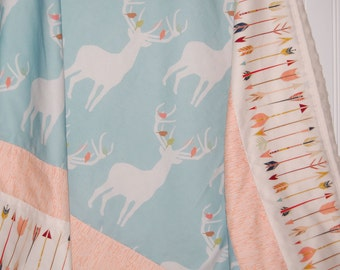 Minky baby blanket - deer baby blanket- arrow baby blanket - patchwork baby blanket