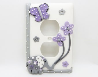 Elephant, Butterfly and Flowers Light Switch or Outlet Cover - Gray, White, Lavender - Childrens Elephant Nursery - Toggle or Rocker Cover