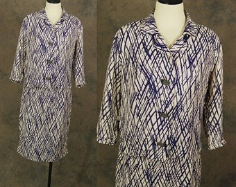 vintage 60s Suit -  1960s Nelly Don Dress Set - Purple and Pink Brushstroke Print Suit Sz M