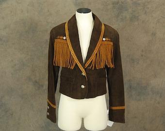vintage 1980s Western Coat - 80s Two Tone Brown Suede Leather Jacket -  Fringe Leather Jacket Sz M