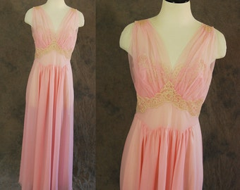 vintage 50s Nightgown - 1950s Vanity Fair Nightgown Sheer Pink Negligee 1950s Lingerie Sz M
