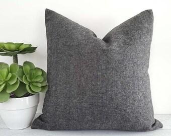 Grey Herringbone Pillow Covers, Grey Tweed Pillow, Wool Textured Pillows, Man Cave Pillows, Mens Throw Pillows, Lumbar 12x20, 14x20, 20x20
