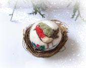 Needle Felted  Ornament,Robin ornament,animal ornament,Christmas ornament, nursery ornament