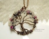 Wire Wrapped Tree of Life Pendant, Moonstone, Pink Agate, Crystal Canopy Beads, Perfectly Twisted Handmade Wire Beaded Tree Jewelry . mc