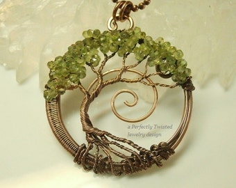 MADE TO ORDER Wire Wrapped Tree of Life Bonsai Pendant, Peridot Gemstones, Perfectly Twisted Jewelry, Wire Tree Jewelry, August Birthstone