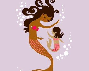 "SHOPWIDE SALE 11X14"" mermaid mother & daughter. giclee print. light purple, bright pink, cinnamon tan skin tones. latina/african american."
