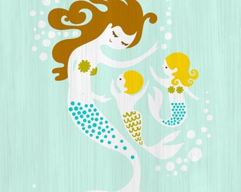 "5X7"" mermaid mother and baby boy and girl giclee print on fine art paper. turquoise, green, brunette, blonde."