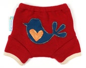 "WOOL SHORTIES - Wool Diaper Cover - ""Chickadee"" - X-Small Newborn"