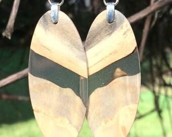 Wood Earrings Resin Lightweight Reclaimed Buckeye Burl