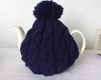 Knitted tea cosy - Navy Blue Cable Design