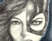 "Portrait Drawing Art Print: ""9 Lives"" - Camren Bicondova Michelle Pfeiffer Catwoman Gotham Batman Villain"
