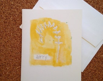 SORRY watercolor greeting card