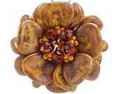 Marble Mustard Magnolia Blossom DIY Pendant Kit, Goldenrod Gem