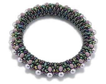 Beaded Bangle Kit, Super Duo Beads, Crystals, Seed Beads and Instructions, Lavender Garden