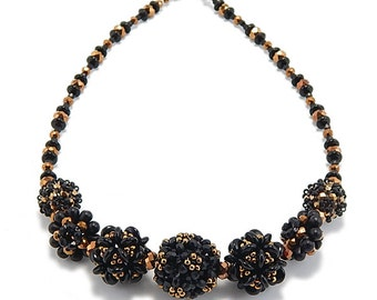 Necklace Bead Kit-Embellished Plum Blossom Beaded Bead, Black Gold