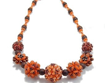 Necklace Bead Kit-Embellished Plum Blossom Beaded Bead, Copper Glory