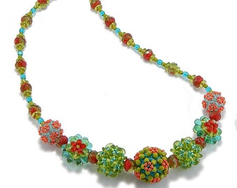 Necklace Bead Kit-Embellished Plum Blossom Beaded Bead, Spice Island