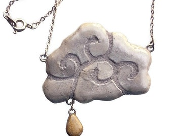 Cloud Necklace with Raindrop - Interchangeable Pendant - Gold and Silver