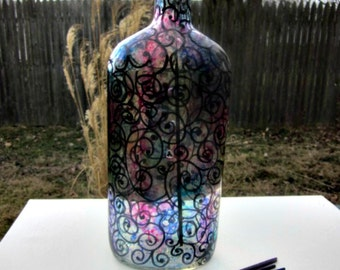 Incense Burner, Smoking Bottle, Recycled Bottle, Incense Holder, Hand Painted, Alcohol Ink, Black Swirls