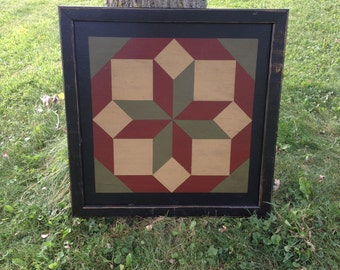 PriMiTiVe Hand-Painted Barn Quilt, 3' x 3'  Rolling Star Pattern