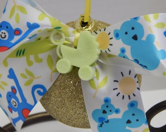 Christmas Ornament Baby Boy / Girl - green carriage