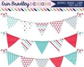 50% OFF SALE Blue & Red Clipart Bunting Graphics Personal and Commercial Use Digital Banner Flag Clip Art Polka Dots Chevron and Striped Pat