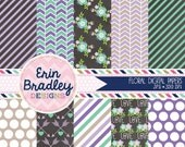 60% OFF SALE Floral Digital Papers in Purple & Blue Stripes Flowers and Arrow Patterns Digital Paper Pack