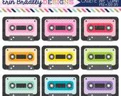 80% OFF SALE Cassette Tape Clipart Set 80's Music Clip Art Graphics Personal & Commercial Use