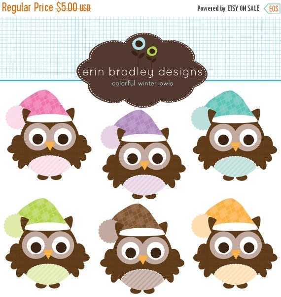 60% OFF SALE Holiday Owls Clipart Clip Art Personal & Commercial Use Instant Download