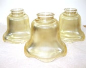 Vintage Amber Glass Large Sconces Ribbed Glass Shades Fan Light Globes