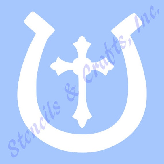 3 5 horseshoe cross stencil stencils template western templates craft pattern scrapbook paint. Black Bedroom Furniture Sets. Home Design Ideas