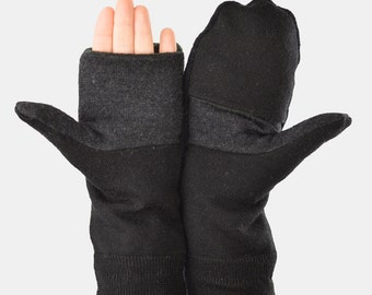 Convertible Mittens in Black and Charcoal Grey - Recycled Wool - Fleece Lined