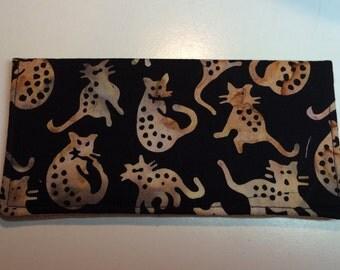 Black and Tan Batik Cats Checkbook