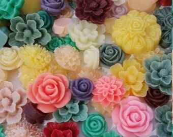 100 Piece Resin Flower Cabochons Mix Jewelry Cabs Wholesale Flower Cabs