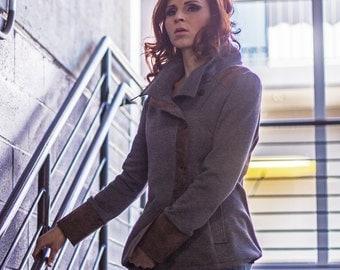 Urban Knit Jacket - Gray knit with cotton leather trim, two tone asymmetrical womens jacket