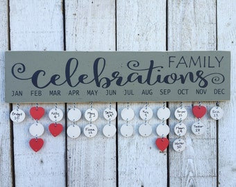 Family birthday board, Family celebrations sign, birthday calendar, wall family calendar, gift for mom, choose colors