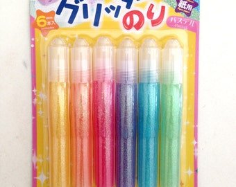 Glittery Glue, pastel, colorful, yellow, orange, green, pink, purple, blue, green, craft, paper, card, crafting, children, kid, school
