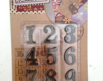 Number Plates, metal, plate, number, antique design, iron, craft, card, crafting, children, kid, school, art, zinc alloy, one, two ,three