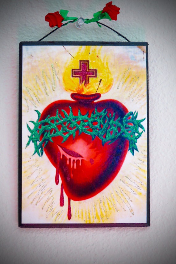 """Day of the Dead SACRED HEART 5"""" x 7"""" Shrine -  A colorful and sparkly beauty"""