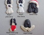 BLACK COCKER SPANIEL dog porcelain ornaments, created by Nicole, free personalizing, many styles from pull down menu