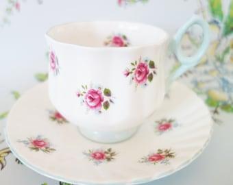 Rosina Rose Teacup, Blue Rosina Tea Cup, Pink Rose Teacup, Collectibles, no 13A